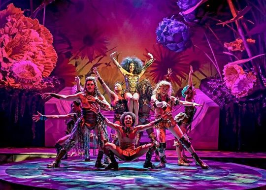 "Led in revels by the First Fairy (Adrienne Storrs) and Puck (Sam Kebede), the fairy ensemble gather to ""Rock the Ground"" in Chicago Shakespeare Theater's production of 'A Midsummer Night's Dream' (Liz Lauren photo)"