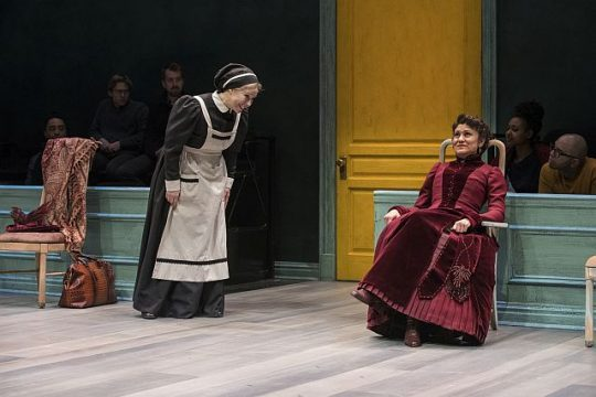 Barbara E. Robertson (Anne Marie) and Sandra Marquez (Nora) is A Doll's House Part 2 at Steppenwolf Theatre