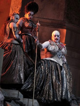 Michaela Martens as Klytamnestra with confidante Whitney Morrison and train bearer Emily Pogorelc in Elektra at Lyric Opera of chicago (photo by Cory Weaver)