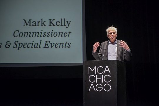 Commissioner Mark Kelly is among Chicago dignaeries and arts organization representatives that launched the Water Tower Arts District March 12, 2019 at the Museum of Contemporary Art. (Photo: Nathan Keay, © MCA Chicago)
