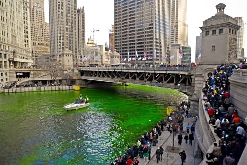 Chicago turns its river green to honor St. Patrick on the day of the city's parade. (City of Chicago photo)