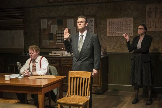 From L. Steve Peebles, Drew Schad and Christina Gorman in Hannah and Martin. (Photo by Michael Brosilow)