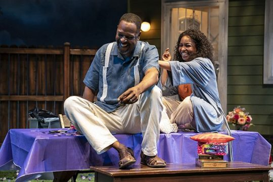 James Vincent Meredith (Avery) and J. Nicole Brooks (Mallory) in Lottery Day at Goodman Theatre. (Liz Loren photo)