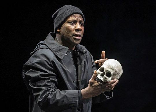 Maurice Jones as Hamlet at Chicago Shakespeare Theater. (Liz Lauren photo)