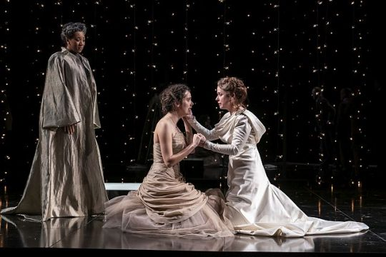 Kate Fry (Hermione), Dan Donohue (Leontes) and Nathan Hosner (Polixenes) in The Winter's Tale. (Liz Lauren photo)