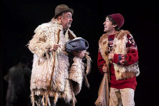Tim Monsion (Old Shepherd) and Will Allan (Clown) in The Winter's Tale at Goodman Theatre. (Liz Lauren photo)