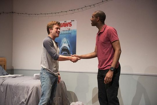 "Julian Hester, left, and Michael Aaron Pogue in ""The Recommendation."" (Photo Michael Brosilow)"