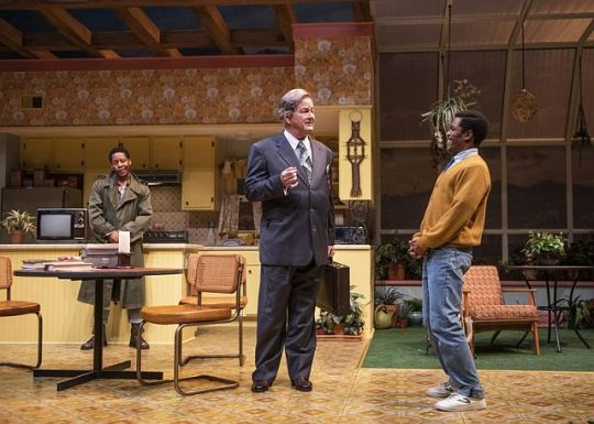 L o R Namir Smallwood (Lee) Francis Guinan (Saul) Jon Michael Hill (Austin) in True West at Steppenwolf. (Photo by Michael Brosilow)