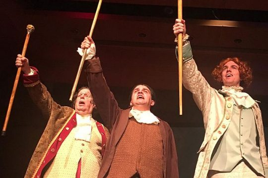 Franklin ( Edward Kuffert) Adams (Sean Michael Barrett)) and Jefferson (Justin Smith) sing about the birth of the United States of America in 'The Egg. ' (Photo courtesy of MadKap Produection