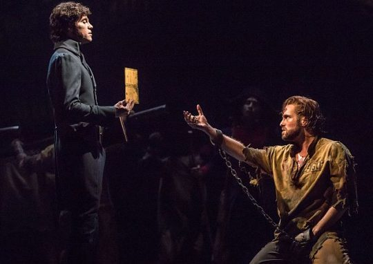 Josh Davis (Javert) and Nick Cartell (Jean Valjean) in US tour of 'Les Miserables.' (Matthew Murphy photo)