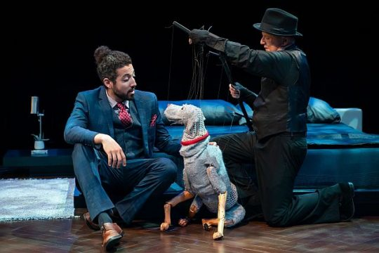 Heath Saunders (Harry) dog Paul and Phillip Huber in 'Darling Grendadine.' Liz Lauren photo)