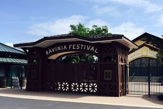 The Martin Theater is near the Ravinia Festival Gate at the Metra train stop, accessible by St. Johns Avenue and the Green Bay Road parking lot plus Ravinia bus shuttles. (Photo by J Jacobs)