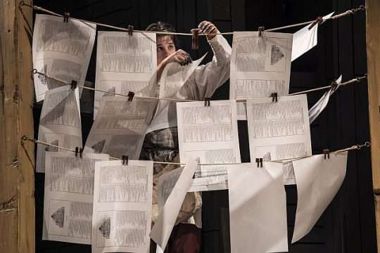 Drying the pages of the First Folio. (Liz Lauren photo)