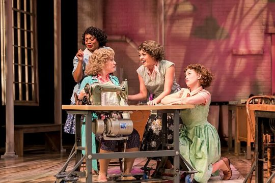 as Brenda, Elizabeth Telford as Babe, Sierra Schnack as Poopsie and Maggie Malaney as Mae in Pajama Game. (Photo by Brett Beiner)