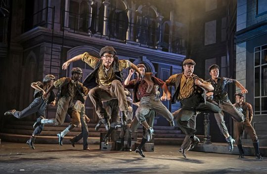 "The high-flying cast of ""Newsies"" now playing at Paramount Theatre in Aurora. (Photo by Liz Lauren)"