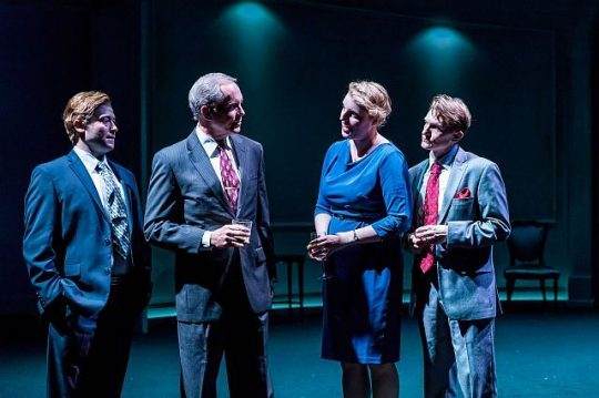 L to R Norwegians Jan Egeland (Bernard Balbot) .Johan Jørgen Holst (David Parkes), Mona Juul (Bri Sudia) and Terje Rød-Larsen (Scott Parkinson), strategize how to keep secret the negotiations they are helping to facilitate. (Brett Beiner photography)