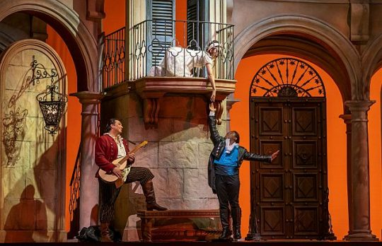 Adam Plachetka, Marianne Crebassa and Lawrence Brownlee in the Barber of Seville at the Lyric Opera House. (Todd Rosenberg photo)