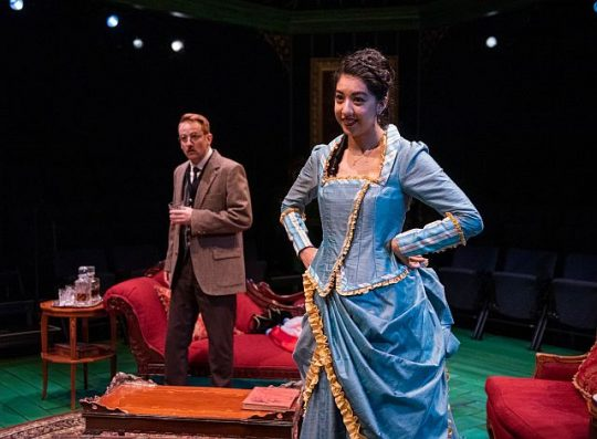 Bradley Grant Smith (Dr. Rank) and Cher Alvarez (Nora) in Writers Theatre's A Doll House. (Michael Brosilow hoto)